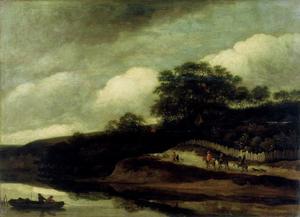 Heuvelachtig landschap met ruiters op een pad langs het water