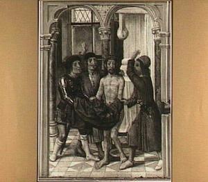 Christus wordt ontkleed en geslagen (detail van het middenpaneel)