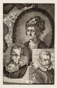 Portretten van Jan Joest van Calcar (....-1519), Christoph Schwarz (....-1592) en Philips Galle (1537-1612)