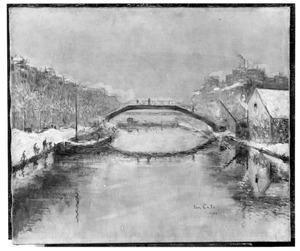 Het Kanaal St Martin te Parijs in de sneeuw