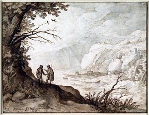 Twee pratende reizigers bij een rivierdal