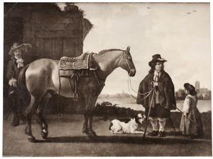 Ruiter met een paard in een rivierlandschap