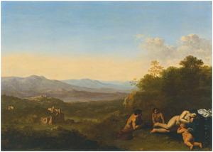Italianiserend landschap met slapende Venus en putto