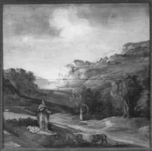 Berglandschap; Antonius Abt bij de gestorven Paulus de kluizenaar voor wie twee leeuwen een graf graven