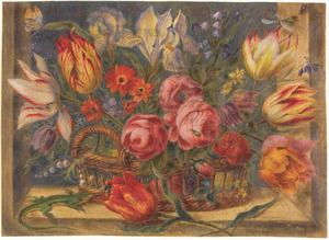 Bloemen in een rieten mand met hagedis en insecten