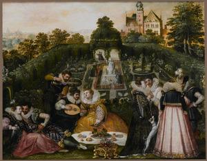Elegant gezelschap in een Renaissance tuin