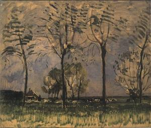 Farm setting, four tall trees in the foreground I