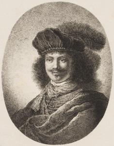 Portret van een jonge man met snor en vliegje en baret met pluim