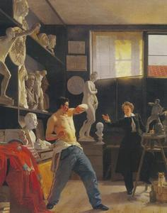Portret van de beeldhouwer Christen Christensen werkend in zijn atelier naar levend model