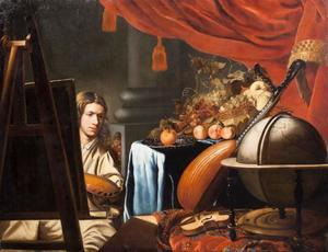 Jonge kunstenaar in zijn atelier met een stilleven van fruit, een luit, een viool en een globe
