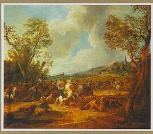 Landschap met een veldslag tussen ruiters