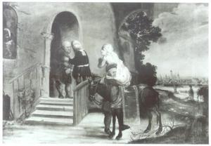 De barmhartige Samaritaan brengt de gewonde reiziger naar een herberg (Lucas 10:25-37); in de achtergrond een gezicht op Danzig