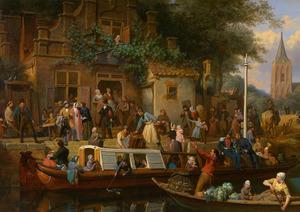 Trekschuit voor de herberg 'Het wapen van Utrecht'