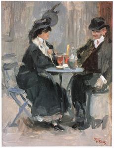 Man en vrouw zittend op terras