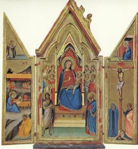 De geboorte van Christus (binnenzijde links), Maria en kind met heiligen (midden), de kruisiging (binnenzijde rechts)