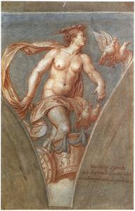 Venus doorkruist de hemel op haar wagen (uit: Lucius Apuleius, De gouden ezel)