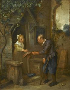 Jong meisje geeft een aalmoes aan een oude man