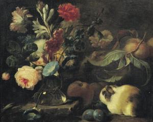 Stilleven met marmotten, bloemen, vruchten