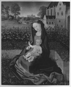 Maria met kind in een ommuurde tuin