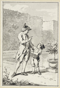 Illustratie voor 'De kinderliefde' in de Kleine gedichten voor kinderen door H. van Alphen