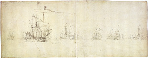 De Hollandse vloot voor anker na de Slag bij Lowestoft op 13 juni 1665