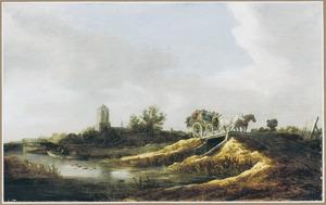 Landschap met een boerenkar met twee paarden onderweg
