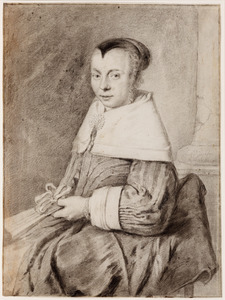 Portret van een onbekende vrouw met een waaier in de linkerhand