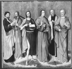 De apostelen Bartholomeus, Thomas, Johannes de Doper, Johannes de Evangelist, Mattheus en Petrus