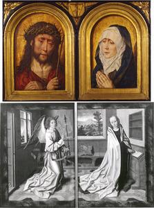 Latijnse spreuk (binnenzijde links), Christus als Man van Smarten en Maria als Mater Dolorosa (midden), Latijnse spreuk (binnenzijde rechts); annunciatie (buitenzijden)