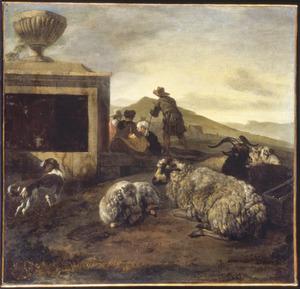 Zuidelijk landschap met herders en hun dieren bij een graftombe