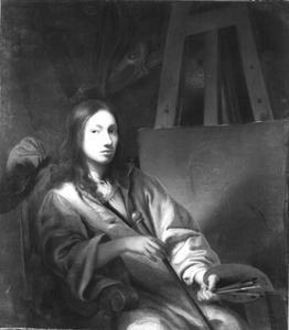Zelfportret bij schildersezel