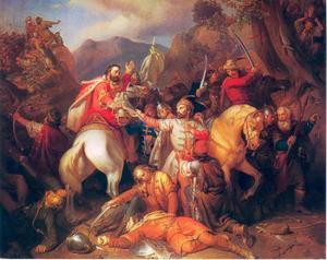 Ridder Dezsö offert zich op voor de Koning Károly Róbert (1288-1342)