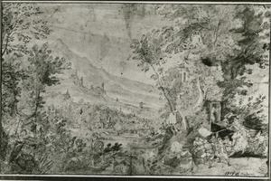 Panoramalandschap met een jachttafereel