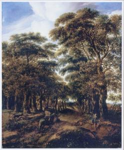 Boslandschap met een ruiter, twee honden en een hengelaar