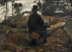 Portret van de schilder Frederik Hendrik Kaemmerer buiten aan het werk