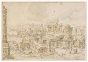 Landscap met ruïnes en een tekenaar