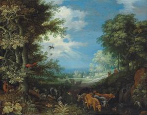 Boslandschap met vee, geiten, een hert, eenden, een papegaai en andere vogels, een herder en zijn hond in de verte