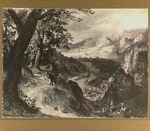 Landschap met Mozes en het brandende braambos
