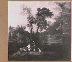 Arcadisch landschap met Adonis die vertrekt voor de jacht
