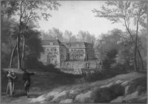 Boslandschap met de dompeldoop bij de Collegianten in Rijnsburg