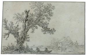 Rivierlandschap met twee figuren in een roeiboot bij een boom