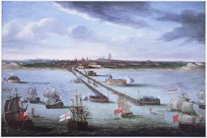 Het bombardement van de haven van Duinkerken door de Engelsen in 1694