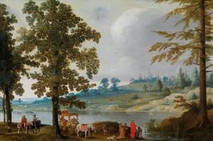 Rvierlandschap met de doop van de kamerling door de apostel Philippus (Handelingen 8:38-39)