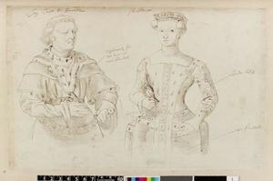 Studie van Johan van Henegouwen en zijn vrouw