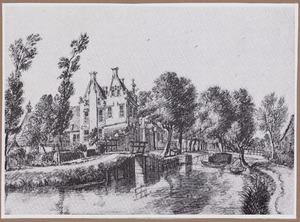 Gezicht op het huis Wulvenhorst of Wulverhorst aan de Kromwijkerdijk te Linschoten, met op de voorgrond het riviertje de Linschoten