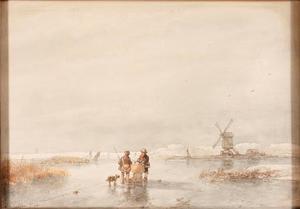 Winterlandschap met windmolen