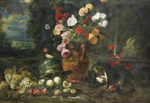 Stilleven met bloemen en fruit in een landschap
