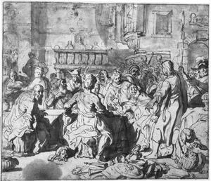 Daniël bij het feestmaal van Belsassar, waar deze met zijn hofhouding het vaatwerk uit de tempel te Jerusalem ontheiligt Daniël 5:1-4)