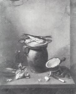 Stilleven met haringen en sla