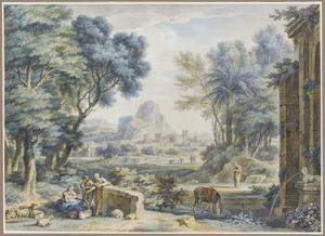 Arcadisch landschap met de rust op de vlucht naar Egypte